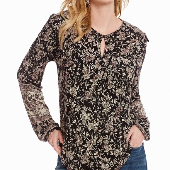 Lucky Brand Women/'s Floral Print Keyhole Cap Sleeve Tunic Top Plus Sizes NWT